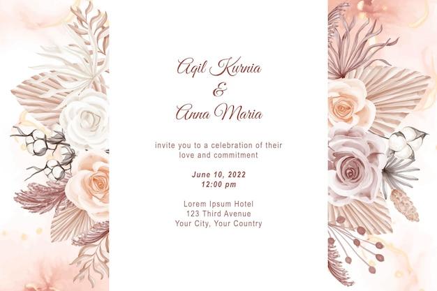 Элегантный шаблон приглашения на свадьбу с акварельной розой в стиле бохо