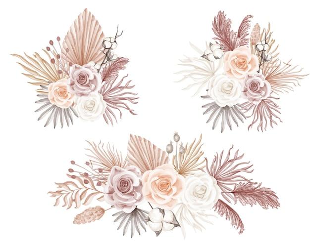 Элегантная роза в стиле бохо с акварельной цветочной композицией