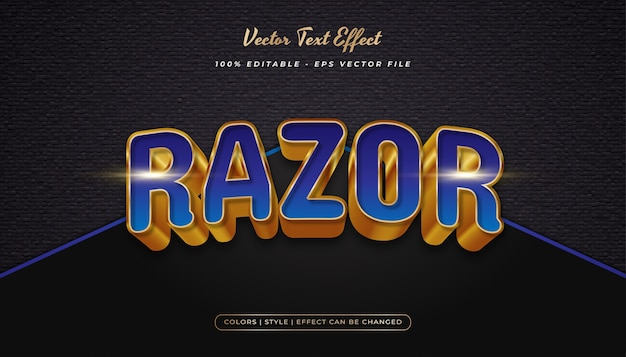 Elegant bold blue and gold text style with realistic embossed effect