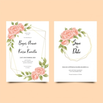 Elegant botanic wedding invitation card template set with soft watercolor flowers decoration