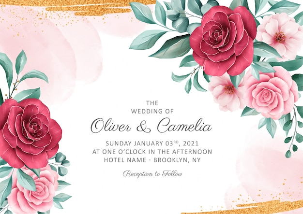 Elegant botanic wedding invitation card template set with watercolor and gold glitter decoration