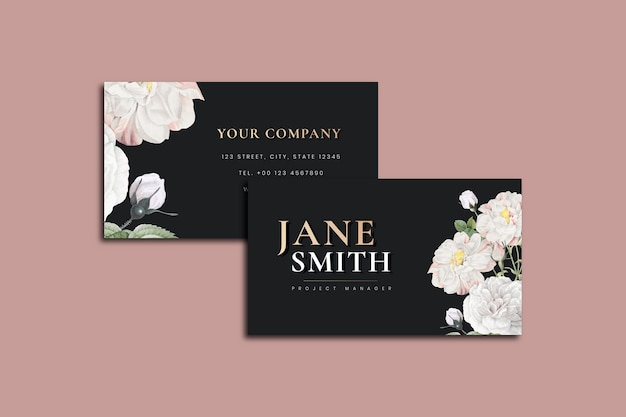 Elegant botanical business card template