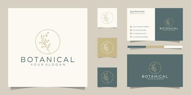 Элегантные ботанические линии, дизайн логотипа и визитная карточка