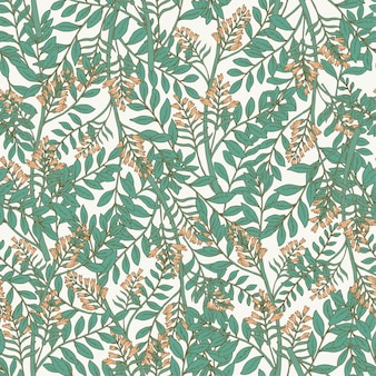 Elegant botanical seamless pattern with acacia inflorescences and leaves.