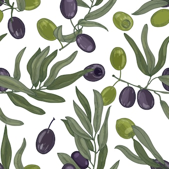 Elegant botanical seamless pattern with olive tree branches with leaves and olives