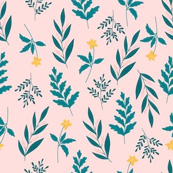 ピンクのbackgrouddに黄色、ピンクの花と緑の葉を持つエレガントな植物のシームレスなパターン。葉と花の壁紙。花の背景。