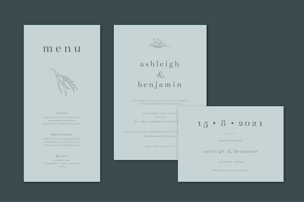 Elegant botanical wedding stationery set