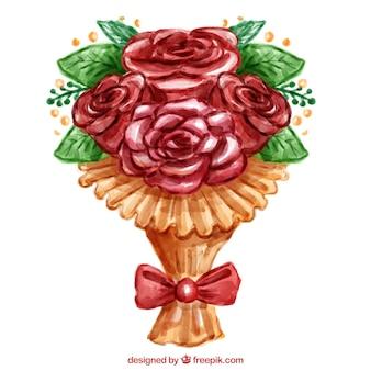 빨간 리본으로 우아한 꽃다발