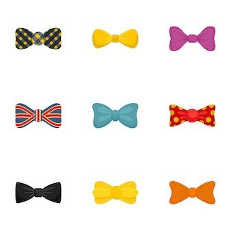 Elegant bow tie icon set, flat style