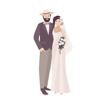 スタイリッシュなスーツと帽子を身に着けている派手なヴィンテージのガウンと新郎に身を包んだエレガントな花嫁。白い背景で隔離の結婚式で男女を愛する。フラットな漫画のスタイルのイラスト
