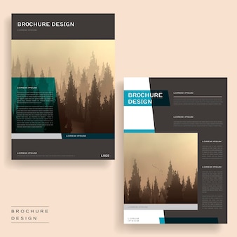 Elegant brochure template design with foggy woodland and geometric elements