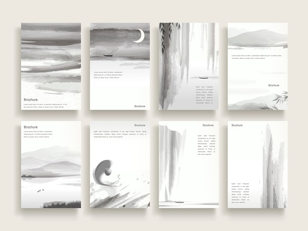 インクブラシ要素とエレガントなパンフレットテンプレートデザイン
