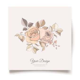 エレガントな茶色の花の招待カードテンプレート