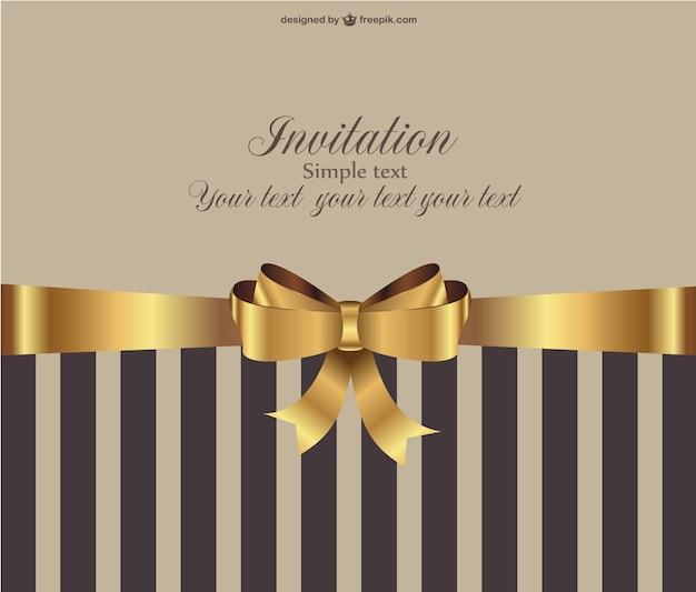 Elegant brown invitation with golden ribbon