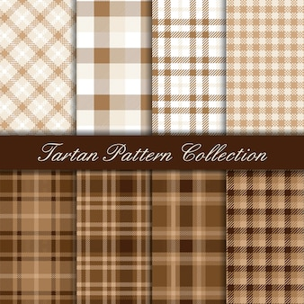 Elegant brown and white collection of tartan seamless patterns