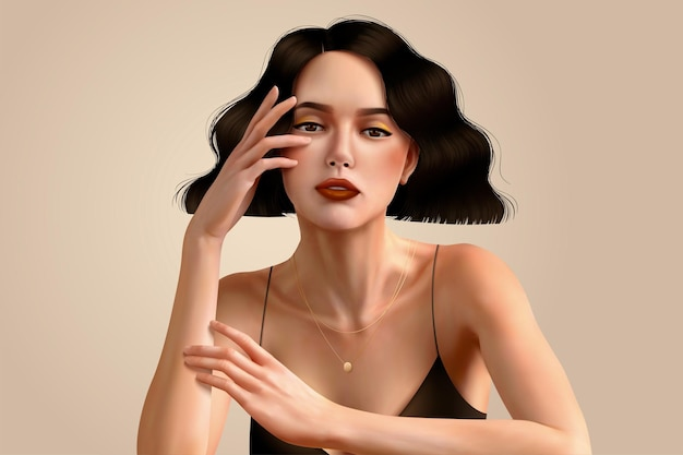 Elegant brunette woman with short curly hair and wearing spaghetti strap dress in 3d illustration