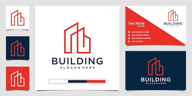 라인 아트 개념 우아한 건물 로고입니다. 로고 영감을위한 도시 건물 개요. 명함 디자인
