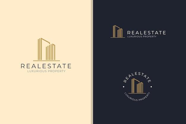 우아한 건물 부동산 고급스러운 부동산 비즈니스 회사 로고 벡터 디자인 서식 파일 세트