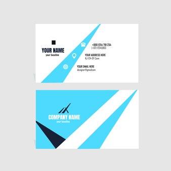 Элегантная визитная карточка с белым и синим цветом Premium векторы
