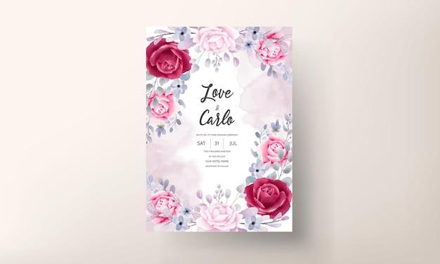 エレガントなバーガンディ紫の花の水彩画の結婚式の招待カード