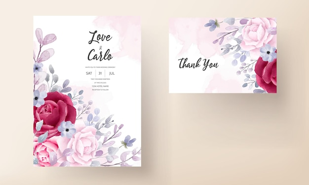 우아한 부르고뉴 보라색 꽃 수채화 결혼식 초대 카드