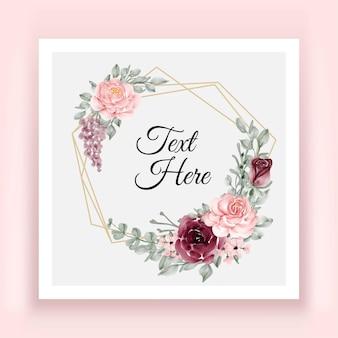 Elegant burgundy and pink rose flower leaves wreath frame geometry