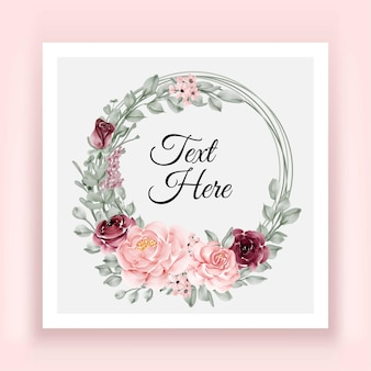 Elegant burgundy and pink rose flower leaves wreath frame