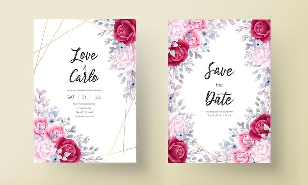 Elegant burgundy an purple floral watercolor wedding invitation card