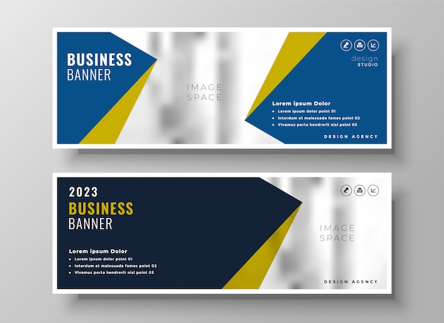 Elegant business banners in geometric style