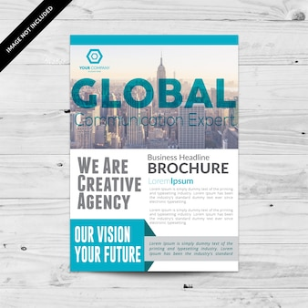 Elegant business brochure with blue details