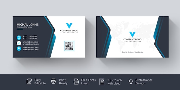 Elegant business card blue and white business card