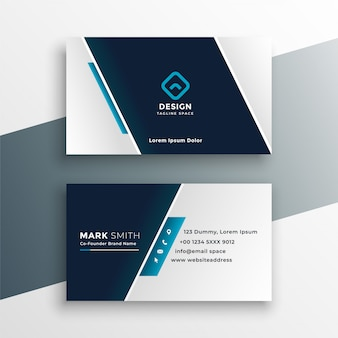 Elegant business card design in blue geometric style