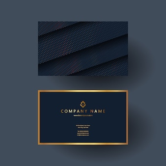 Elegant business card design in blue and gold
