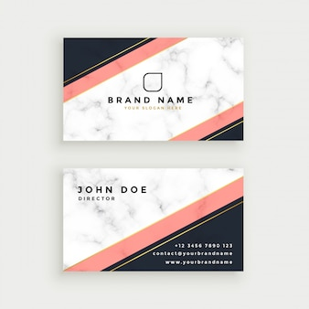 Elegant business card design with marble texture