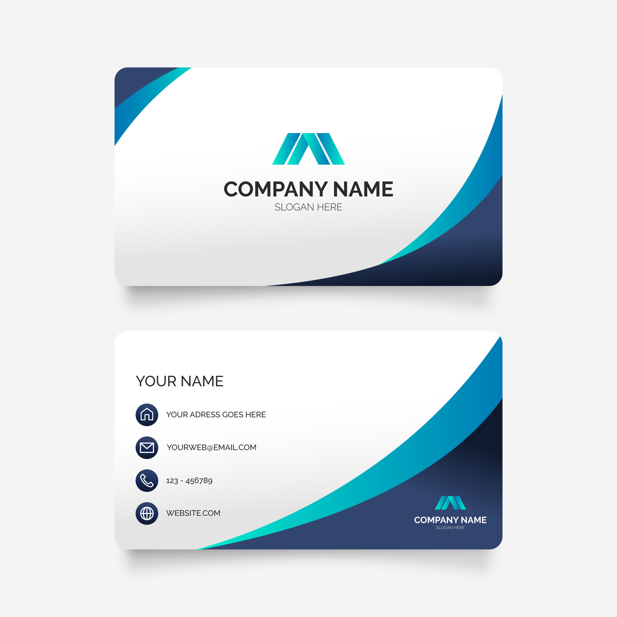 Elegant Business Card in Blue Colors