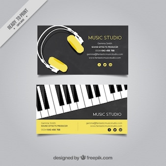 Elegant business card for a music studio