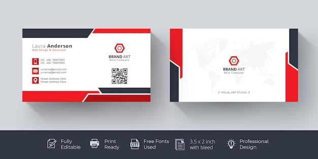Элегантная визитка красно-белая визитка