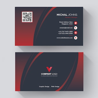 Elegant business card,   red shape visit card, creative visit card
