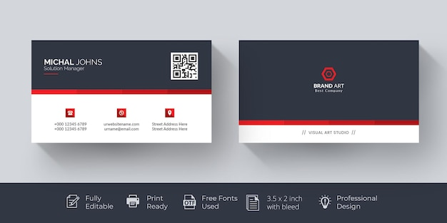 Elegant business card red and white business card
