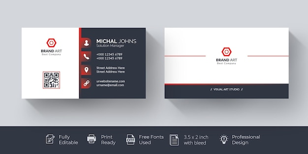 Elegant business card red and white business card Free Vector