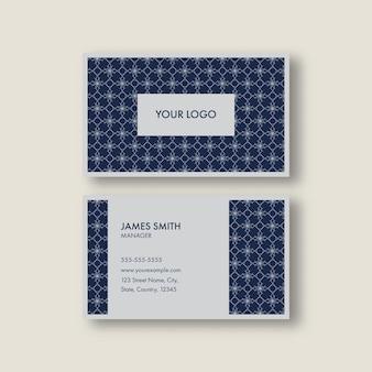 青と灰色のエレガントな名刺テンプレートのレイアウト。