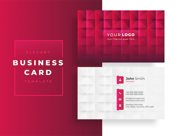 Elegant business card template layout with square pattern in pink and white color.