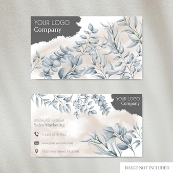 Elegant business card template with floral cover