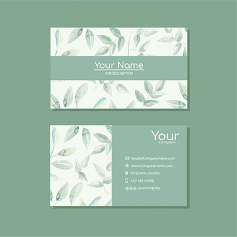 Elegant business card template with flowers in watercolor