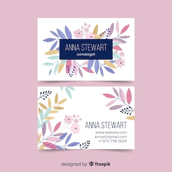 Elegant business card template with flowers