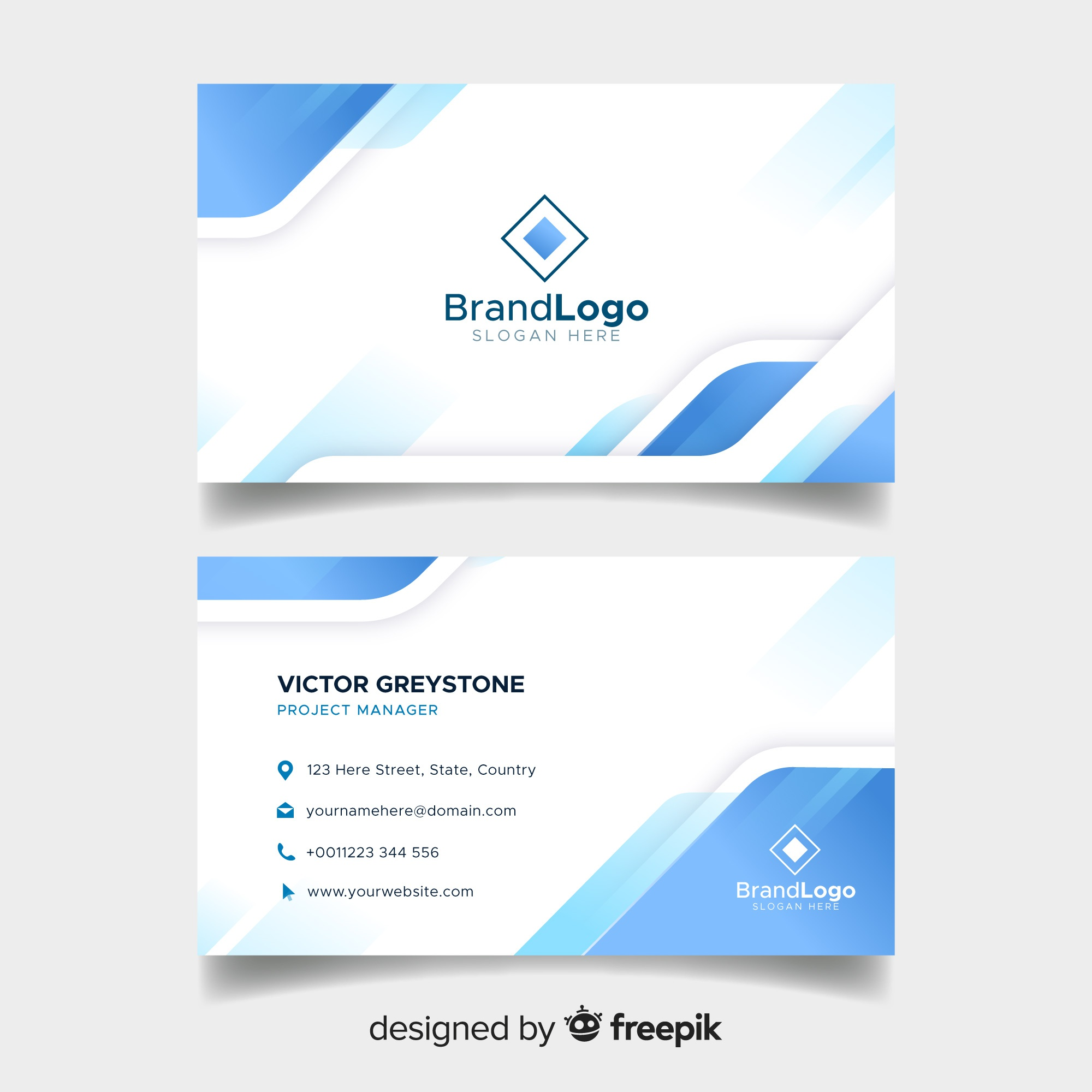 Business vectors 205100 free files in eps format elegant business card template with geometric design friedricerecipe Images
