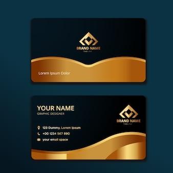 Элегантный шаблон визитной карточки с золотой формой