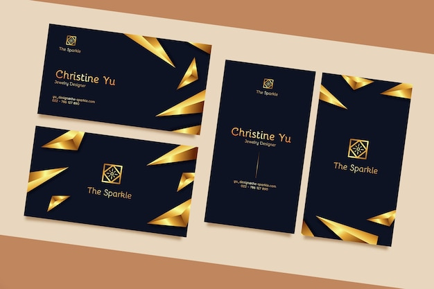 Elegant business card template with golden details