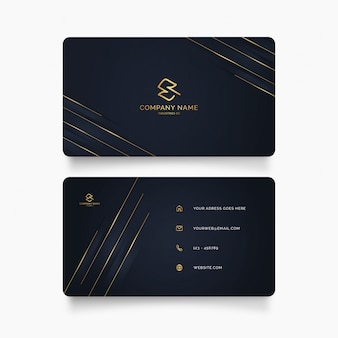 Elegant business card template with golden shapes
