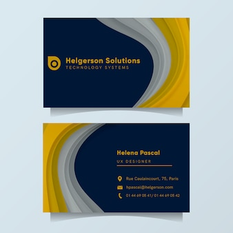 Elegant business card template with golden and silver shapes